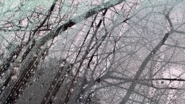 Rain drips windshield