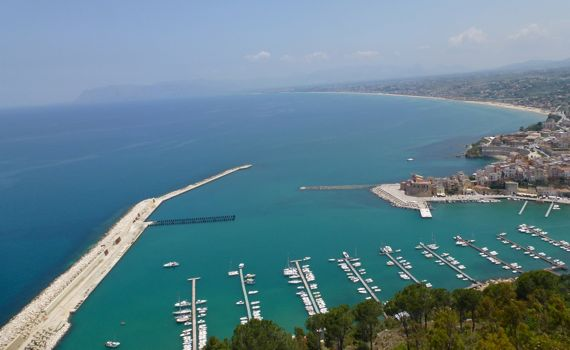Castellamare del Golfo from mirador over yacht basin