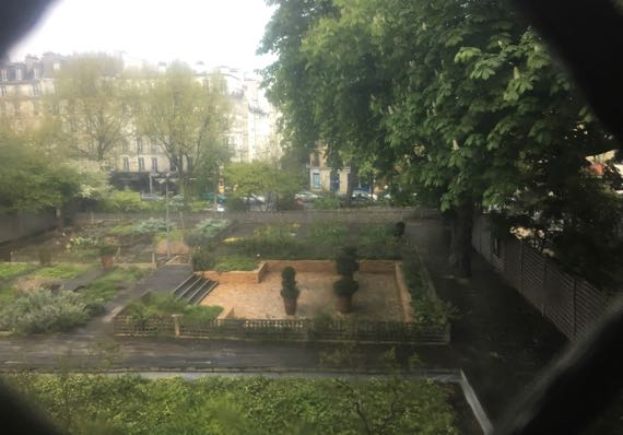 Cluny garden through old glass