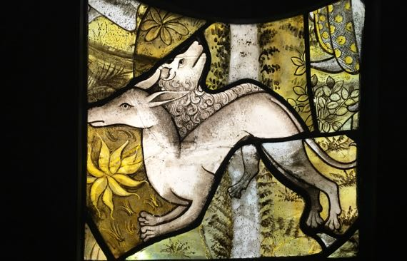 Cluny stainedglass two critters