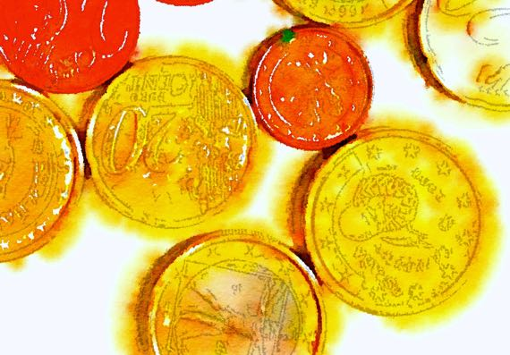 Euro coins waterlogued