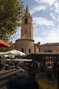 Frejus church tower market