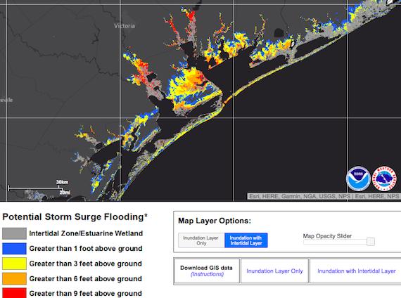 Harvey potential storm surge