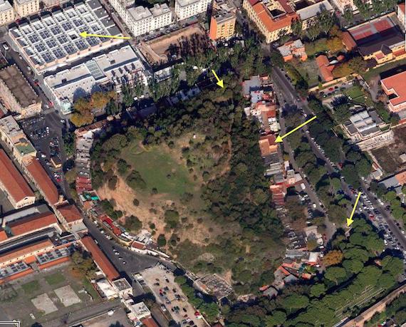 Monte Testaccio from Google Maps