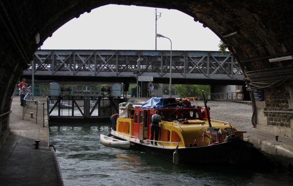 Paris canal colorful boat smoking women