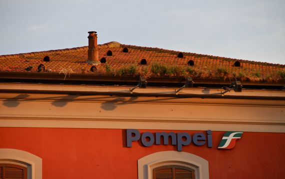 Pompei train station at sunset