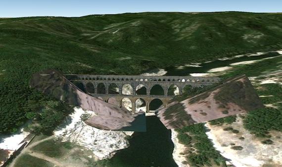 Pont du Gard 3 D google earth