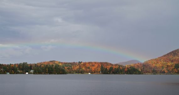 VT autumn rainbow over lake