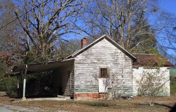 Abandoned rural clapboard house