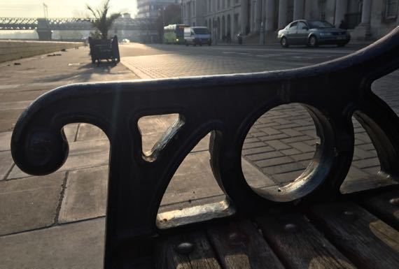 Bench by Liffey before sunset