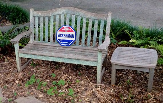Bench with security sign