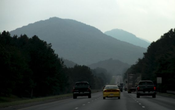 Blue appalachia in fogginess