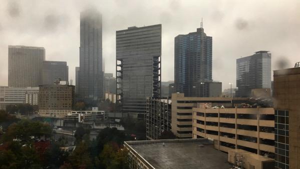 Downtown in rain