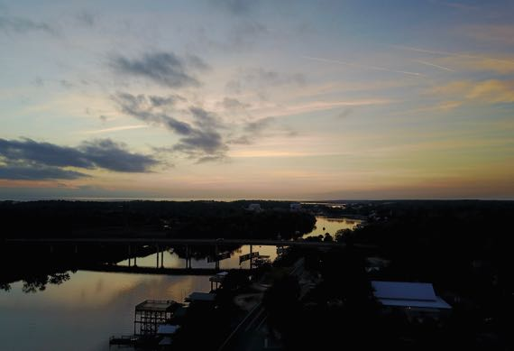 Drone sunset river