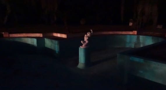 Empty pool marble statue