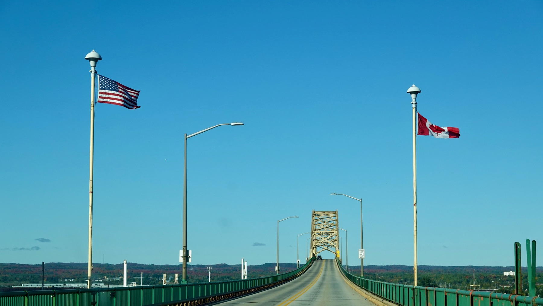 Flags on bridge