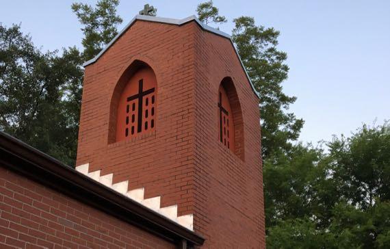 Flashing church tower