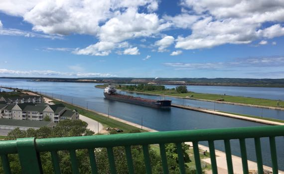 Freighter entering locks