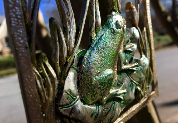 Frog lilypad bullrushes windchime