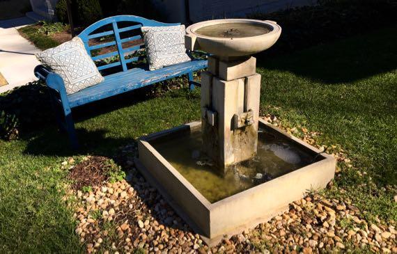 Front yard bench birdbath