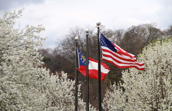 Grant park two flags abloom