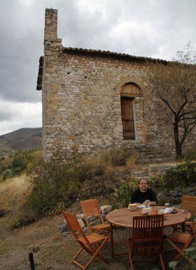 Guru on patio by haute eglise