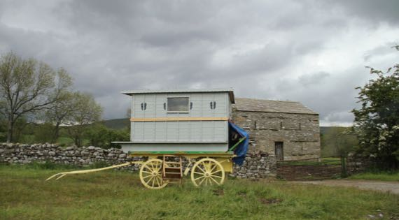 Gypsy wagon stone barn