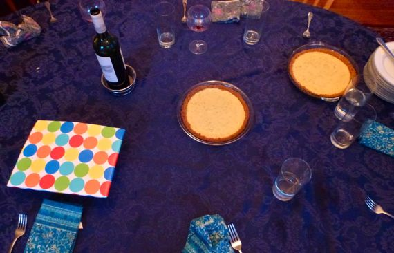 Key lime pie and presents table