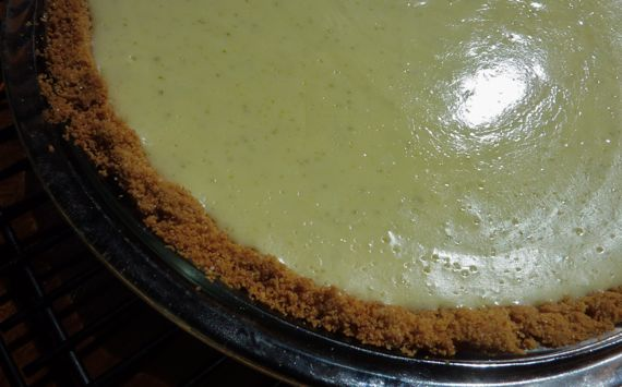 Key lime pie out of oven