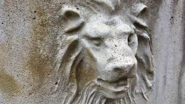 Lion planter detail