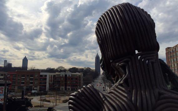 Metal man pondering