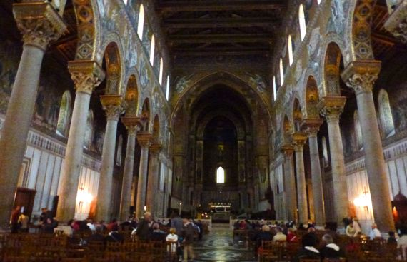 Monreale duomo from entrance down nave sunday service