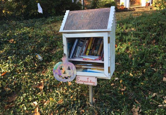 Pastel tiedye pumpkin free library