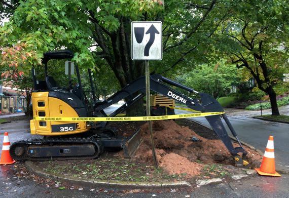 Paused excavator