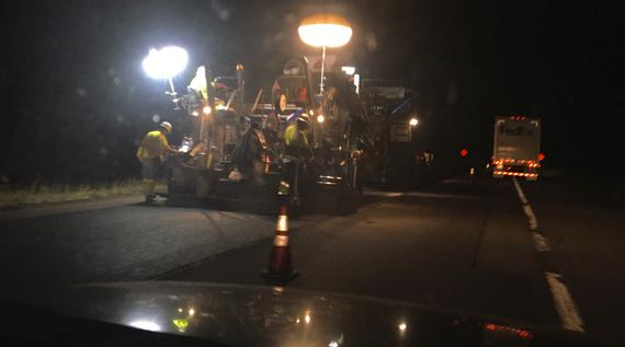 Paving under lights