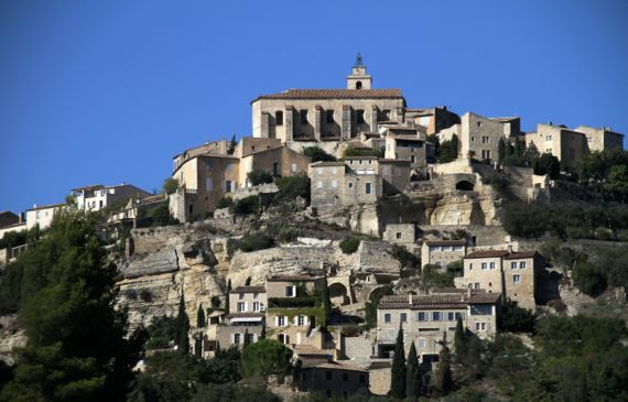 Perched village with terraces below