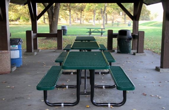 Picnic tables rest area