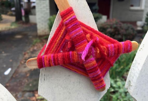 Popsicle yarn ornament