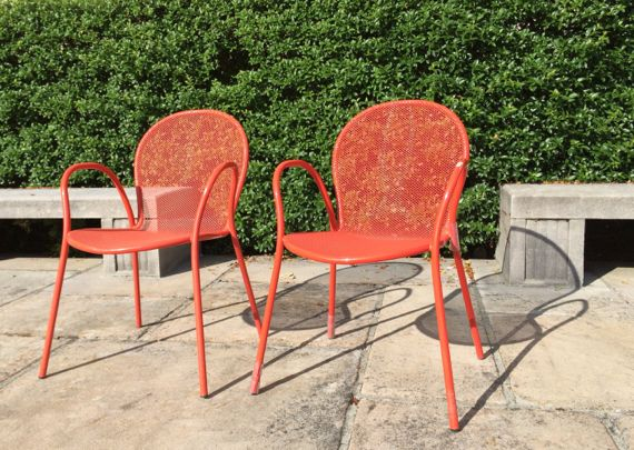 Red orange chair duo