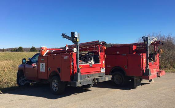 Red utility trucks