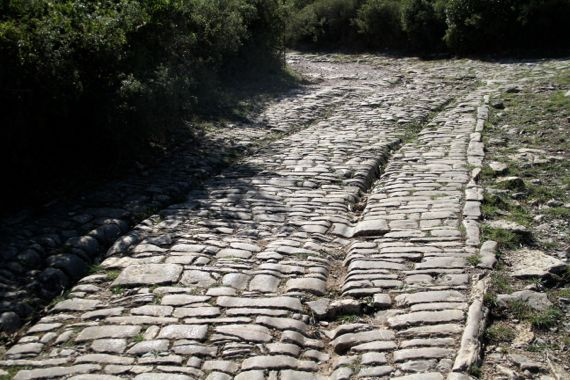 Roman road ambrussum in sun