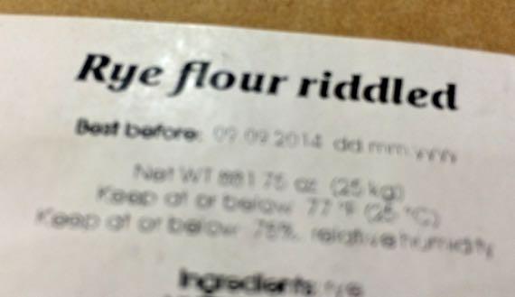 Rye flour riddled