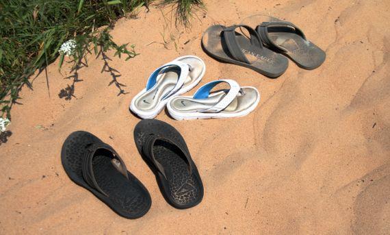 Sandals left behind temporarily