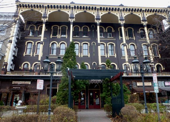Saratoga springs old hotel front