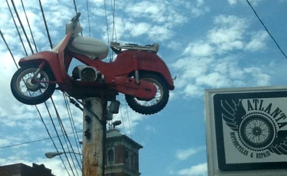 Scooter on a pole