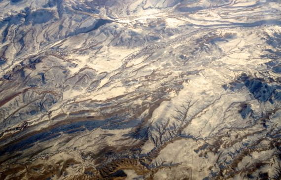 Snowy Wyoming from the air