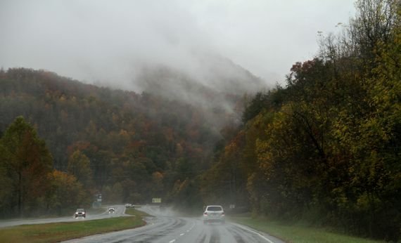 Southern appalachians in the autumn rain