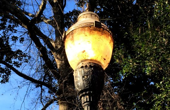 Streetlamp lit daytime
