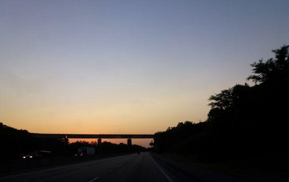 Sunset over jcbs n s bridge