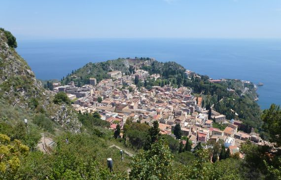 Taormina from maria rocca with trail